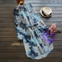 2017年日系優雅水彩花設計連身裙