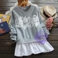 2015年日系優雅lace荷花設計T恤/衛衣