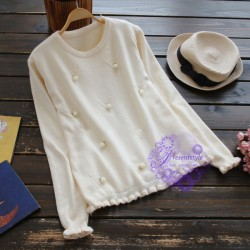 2015年日系優雅彷珍珠裝飾冷衫