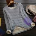2015年日系優雅加絨保暖設計T恤/衛衣