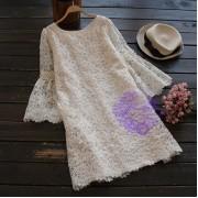 2017年日系優雅九分袖設計連身裙