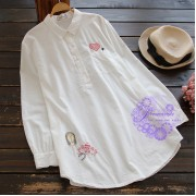 2017年日系優雅刺繡圖案恤衫